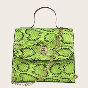 Handbags - New Neon Green Snake Print Satchel Bag
